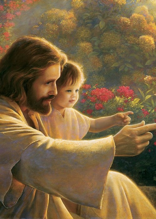 Jesus Greeting Card featuring the painting Precious In His Sight by Greg Olsen
