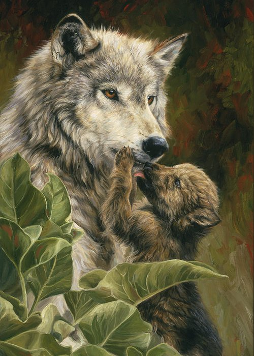 Wolf Greeting Card featuring the painting Precious Moment by Lucie Bilodeau
