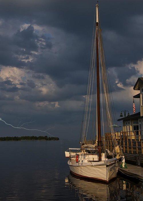 Sailboats In Water Digital Art Greeting Cards