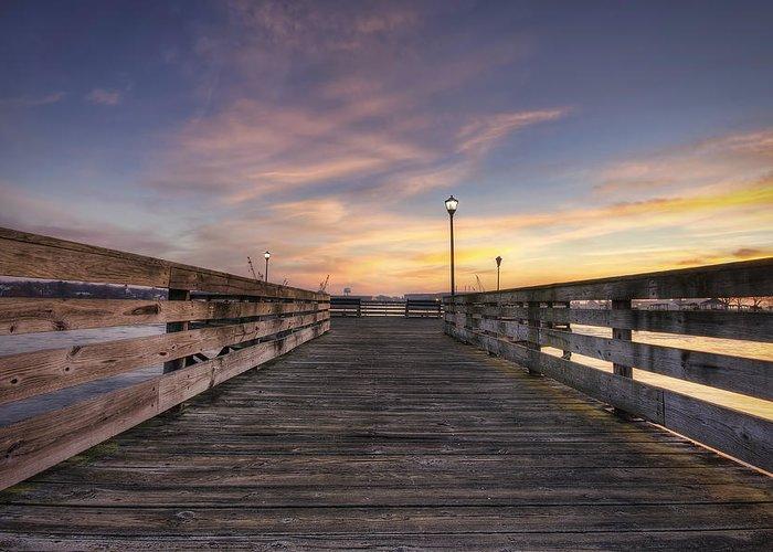 Prescott Park Greeting Card featuring the photograph Prescott Park Boardwalk by Eric Gendron