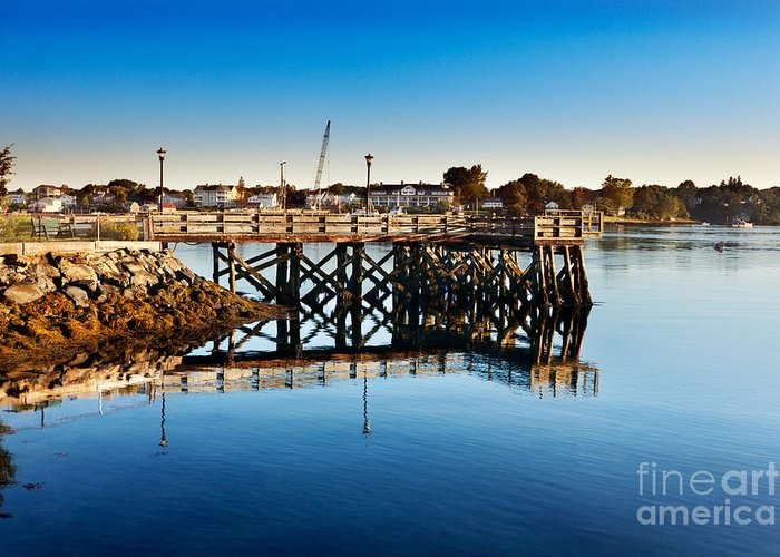 River Greeting Card featuring the photograph Prescott Park Jetty by Jo Ann Snover
