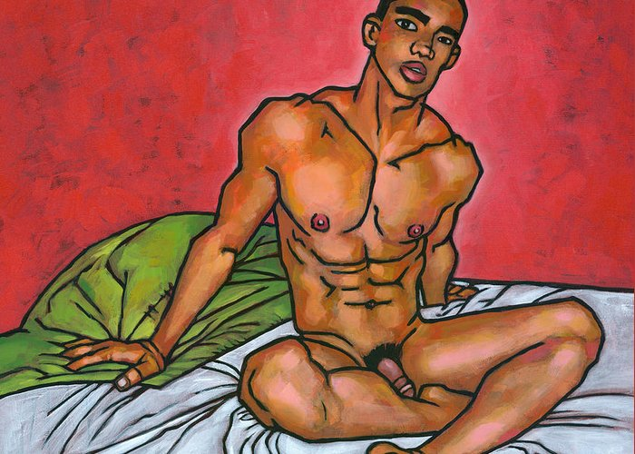 Male Nude Greeting Card featuring the painting Presence by Douglas Simonson