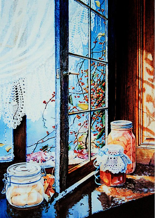 Still Life Art Greeting Card featuring the painting Preserving The Harvest by Hanne Lore Koehler