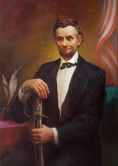 Abraham Greeting Card featuring the painting President Abraham Lincoln by Svitozar Nenyuk