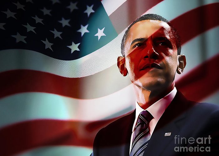 President Barack Obama Paintings Greeting Card featuring the mixed media President Barack Obama by Marvin Blaine