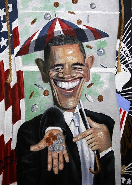 President Barock Obama Greeting Card featuring the painting President Barock Obama Change by Anthony Falbo