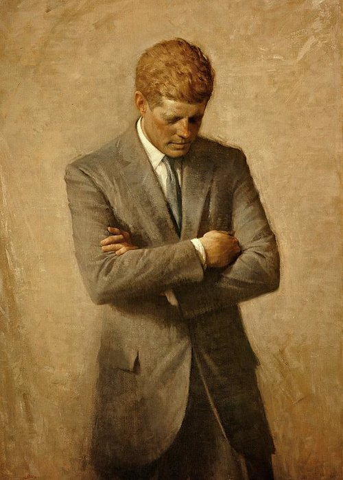 Kennedy Greeting Card featuring the painting President John F. Kennedy Official Portrait By Aaron Shikler by Movie Poster Prints