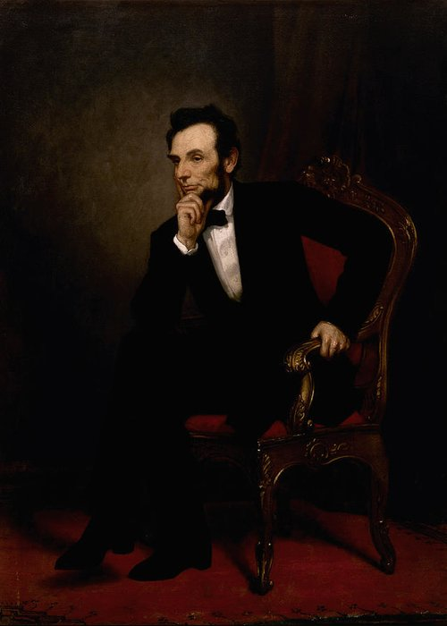 Abraham Lincoln Greeting Card featuring the painting President Lincoln by War Is Hell Store