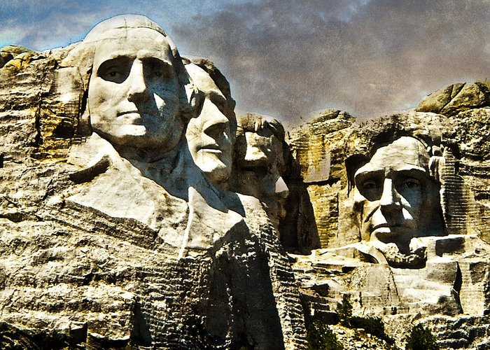 Rushmore Greeting Card featuring the photograph Presidential Rocks by Judy Hall-Folde