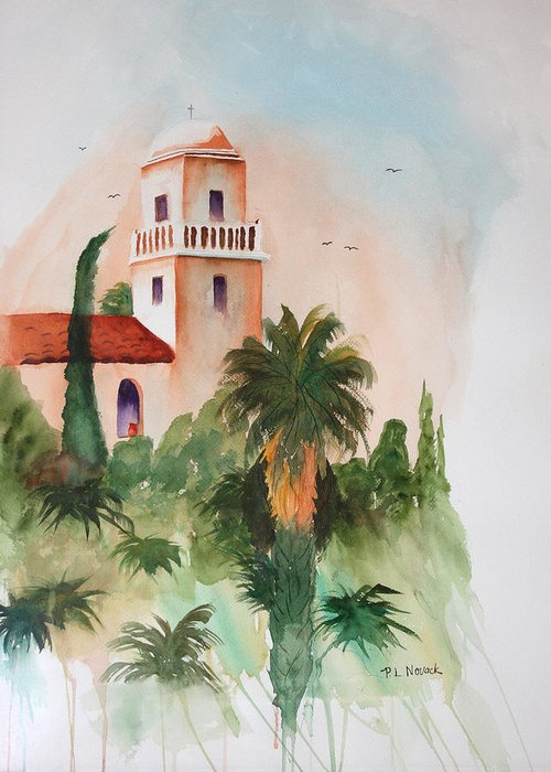 Mission Greeting Card featuring the painting Presidio Park San Diego by Patricia Novack