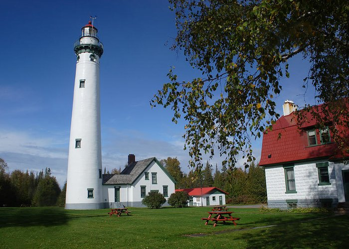 Lighthouse Greeting Card featuring the photograph Presque Isle Mi Lighthouse 4 by John Brueske