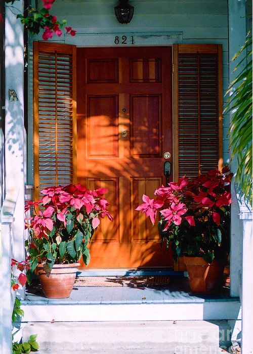House Greeting Card featuring the photograph Pretty House Door In Key West by Susanne Van Hulst