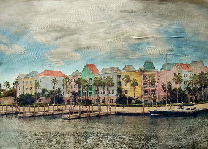 Nassau Greeting Card featuring the photograph Pretty Houses All In A Row Nassau by Kathy Jennings