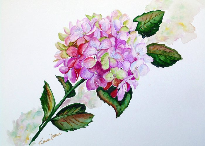 Hydrangea Painting Floral Painting Flower Pink Hydrangea Painting Botanical Painting Flower Painting Botanical Painting Greeting Card Painting Painting Greeting Card featuring the painting Pretty In Pink by Karin Dawn Kelshall- Best