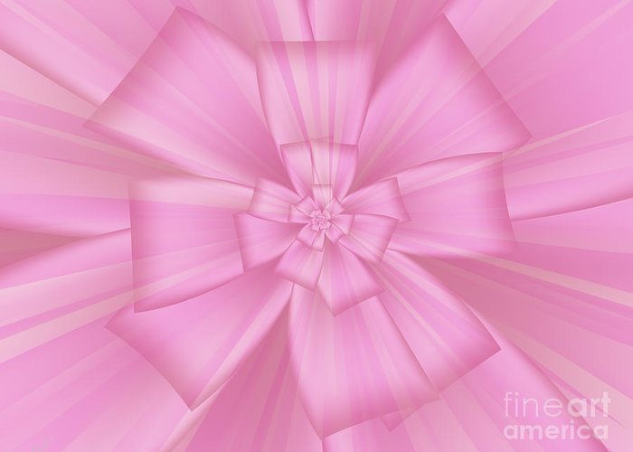 Pretty Pink Bow 1 Greeting Card featuring the digital art Pretty Pink Bow 1 by Kimberly Hansen
