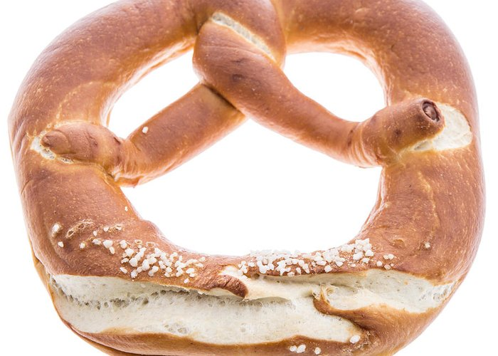 Pretzel Greeting Card featuring the photograph Pretzel Isolated On White by Handmade Pictures
