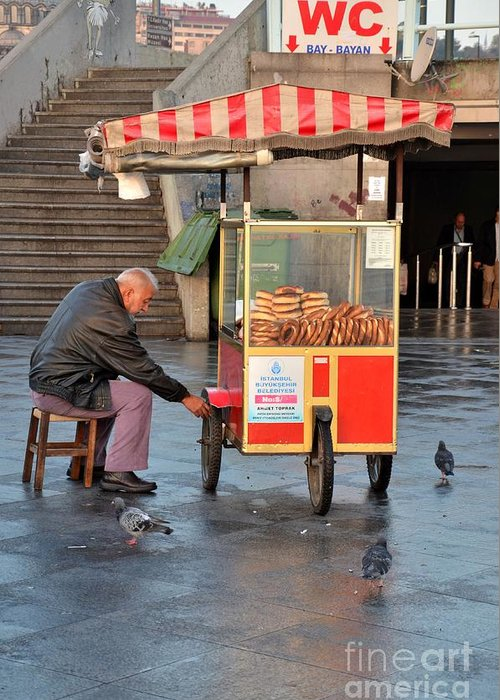 Istanbul Greeting Card featuring the photograph Pretzel Seller With Pushcart Istanbul Turkey by Imran Ahmed