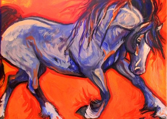 Horse Greeting Card featuring the painting Pride by Jenn Cunningham