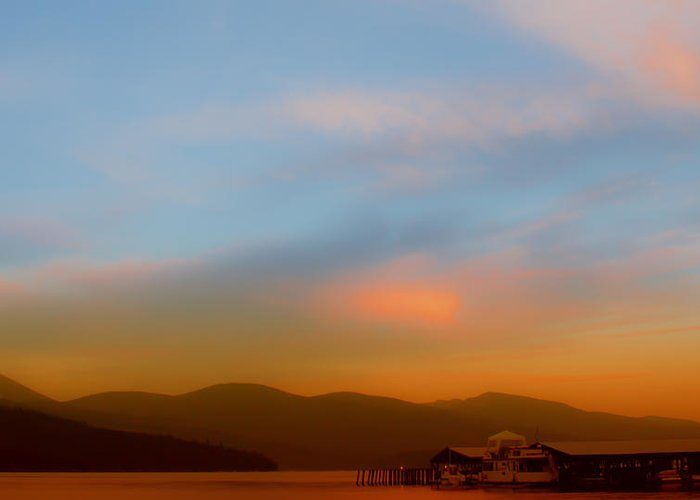 Boathouse Greeting Card featuring the photograph Priest Lake At Dusk by David Patterson