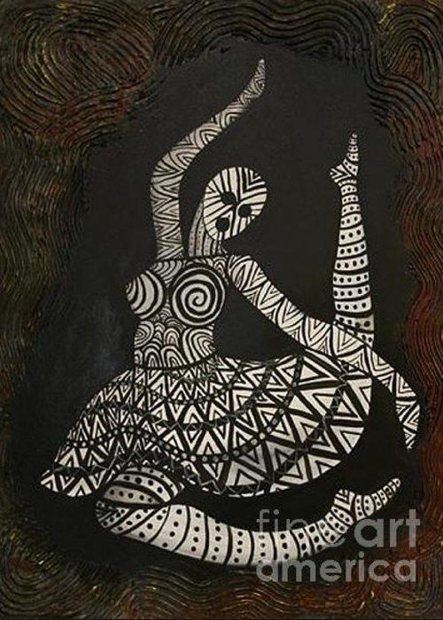 Primal Women Greeting Card featuring the painting Primal Dancer Origin by Kristen R Kennedy