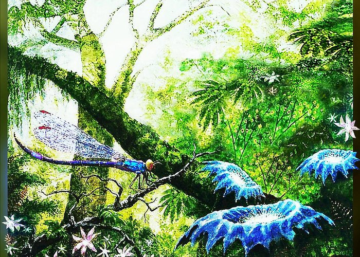Primeval Greeting Card featuring the painting Primeval Forest by Hartmut Jager