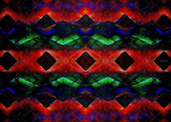 Abstract Greeting Card featuring the digital art Primitive Textured Shapes by Phil Perkins