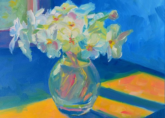 Art Greeting Card featuring the painting Primroses In Spring Light - Still Life by Patricia Awapara
