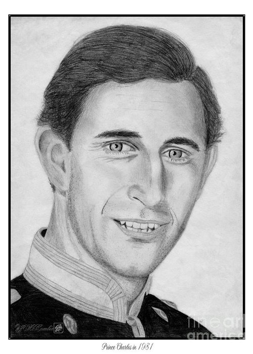 Prince Charles Greeting Card featuring the drawing Prince Charles In 1981 by J McCombie