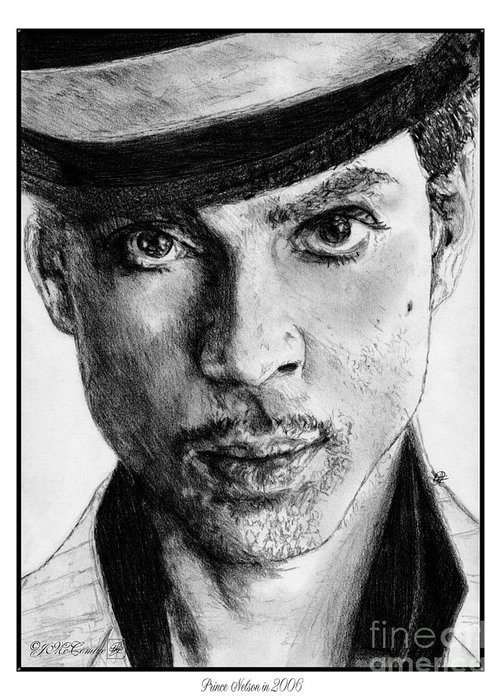 Prince Greeting Card featuring the drawing Prince Nelson In 2006 by J McCombie