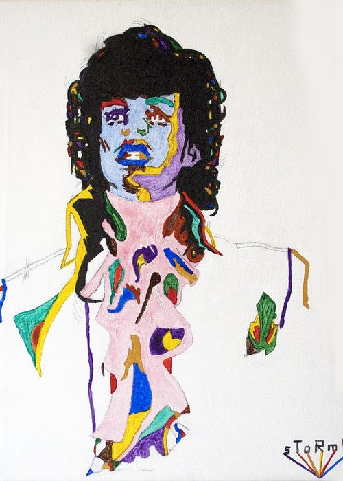 Prince Greeting Card featuring the painting Prince Purple Reign by Stormm Bradshaw