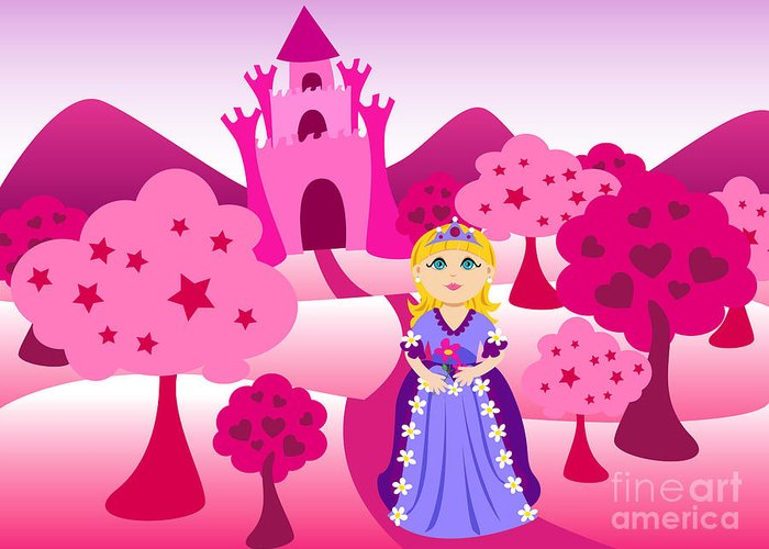 Cartoon Greeting Card featuring the digital art Princess And Pink Castle Landscape by Sylvie Bouchard