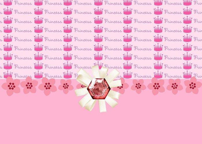 Diamonds Greeting Card featuring the digital art Princess Pink Crowns by Debra Miller