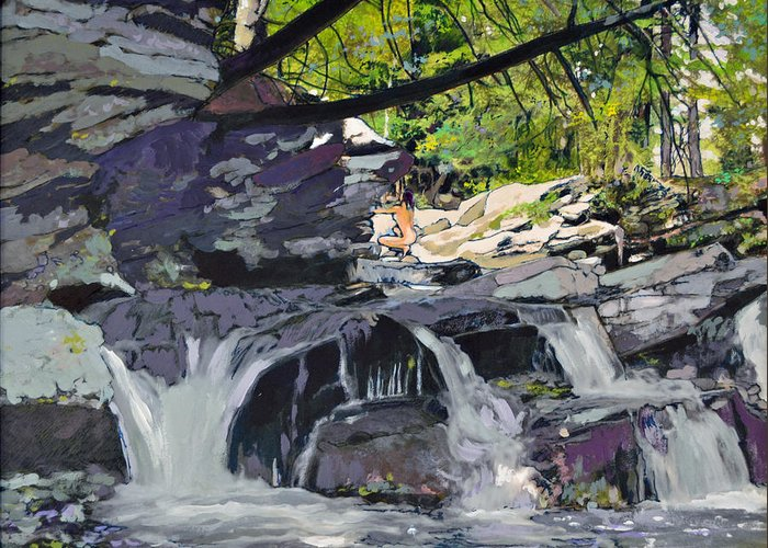 Waterfall Greeting Card featuring the painting Private Spot by Thomas Stratton