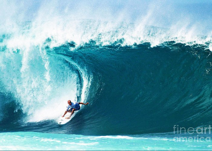 Kelly Slater Greeting Card featuring the photograph Pro Surfer Kelly Slater Surfing In The Pipeline Masters Contest by Paul Topp