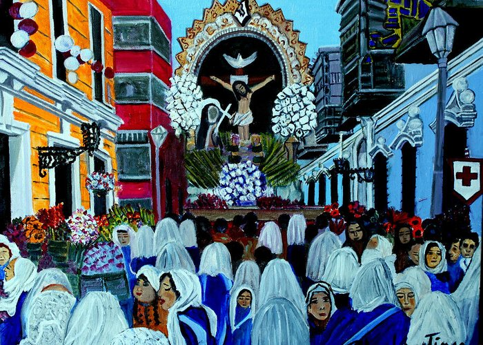 Procesion Greeting Card featuring the painting Procesion del Sr de los Milagros by Pilar Martinez-Byrne