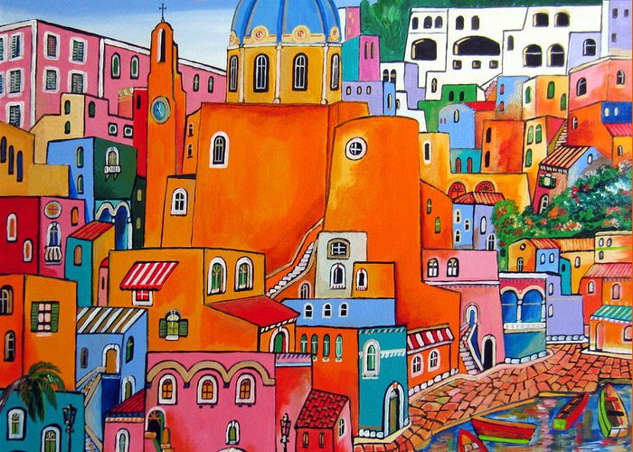 Procida Greeting Card featuring the painting Procida Houses by Roberto Gagliardi