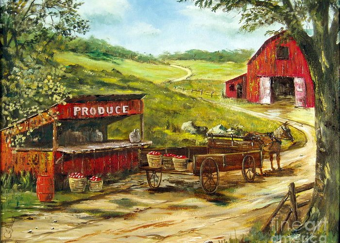 Produce Stand Greeting Card featuring the painting Produce Stand by Lee Piper