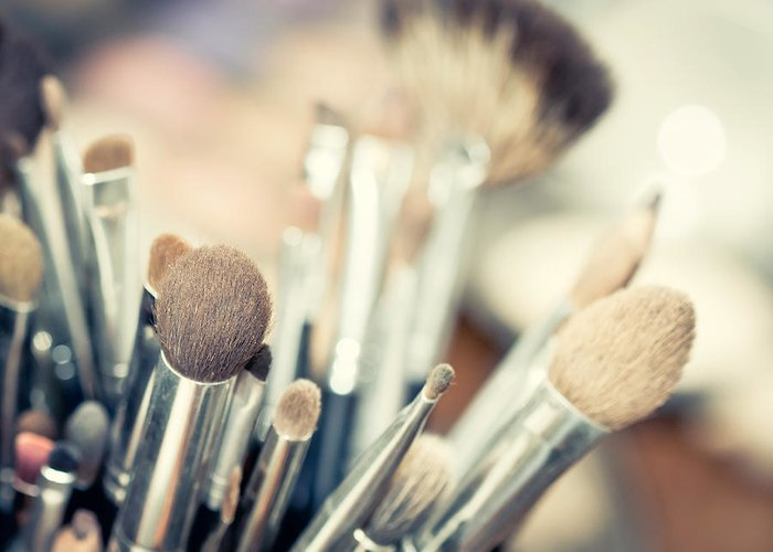 Accessory Greeting Card featuring the photograph Professional Makeup Brush by Prasert Krainukul