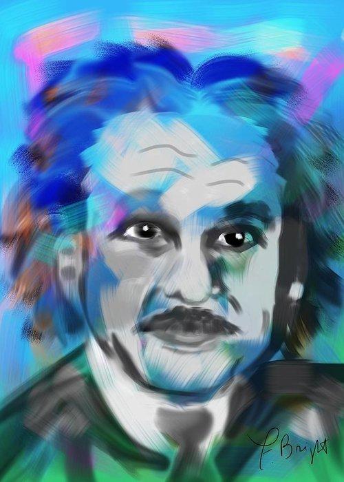 Einstein Portrait Greeting Card featuring the digital art Professor Einstein by Frank Bright