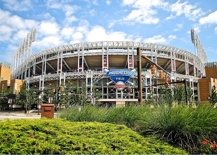 Jacobs Greeting Card featuring the photograph Progressive Field by Frozen in Time Fine Art Photography