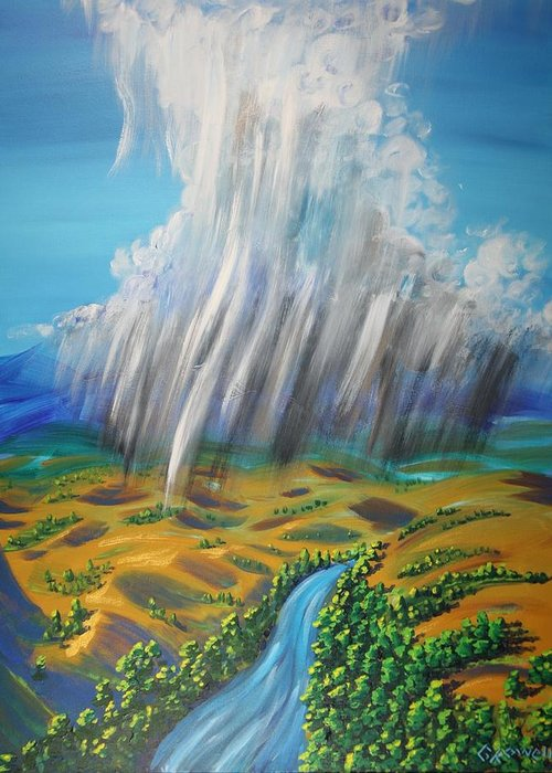 Rain Greeting Card featuring the painting Prophesy My Reign My River by Gary Rowell