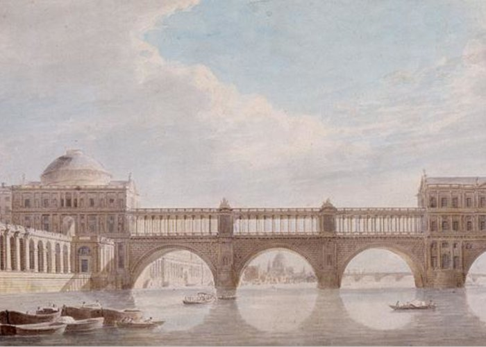 Proposed Design For A Bridge Over The River Thames At Somerset House Greeting Card featuring the drawing Proposed Design For A Bridge by Thomas Sandby