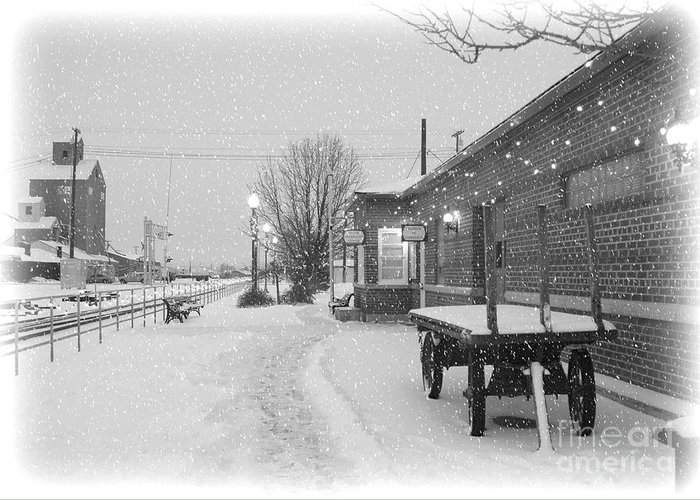 Winter Greeting Card featuring the photograph Prosser Winter Train Station by Carol Groenen