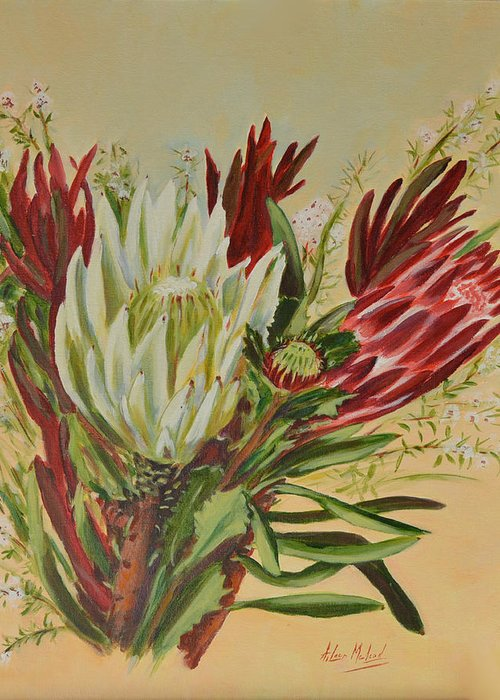 Floral Art Greeting Card featuring the painting Protea Bunch by Aileen McLeod