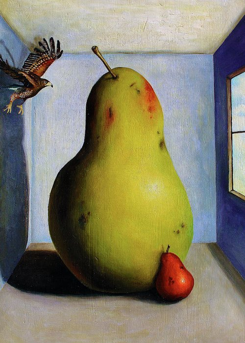 Pears Greeting Card featuring the painting Protecting Baby 5 by Leah Saulnier The Painting Maniac