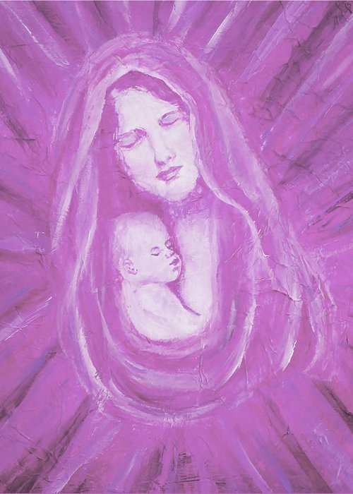 Mother And Child Greeting Card featuring the painting Protecting Love Of The Mother by The Art With A Heart By Charlotte Phillips