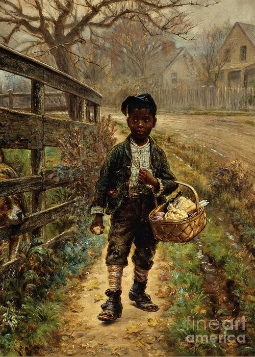 Sweet Greeting Card featuring the painting Protecting The Groceries by Edward Lamson Henry