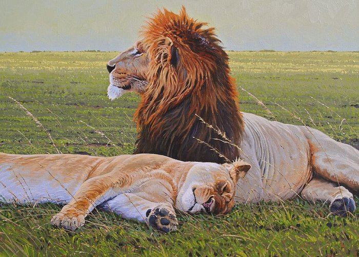 Lions Greeting Card featuring the painting Protecting The Queen by Aaron Blaise