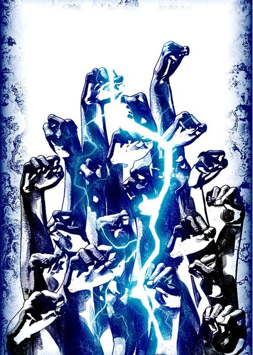 Greeting Card featuring the digital art Protest The Power by Frederico Borges