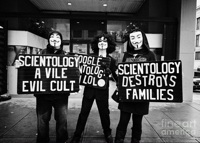 Church Greeting Card featuring the photograph protesters outside a church of scientology Vancouver BC Canada by Joe Fox